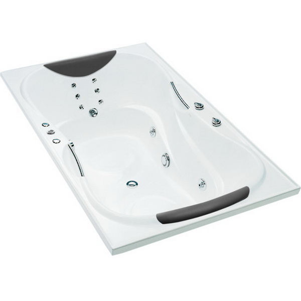 Evora Rectangular Drop-In Hydrotherapy Spa Bathtub 1850 x 1100 x 595mm Duracryl Acrylic White