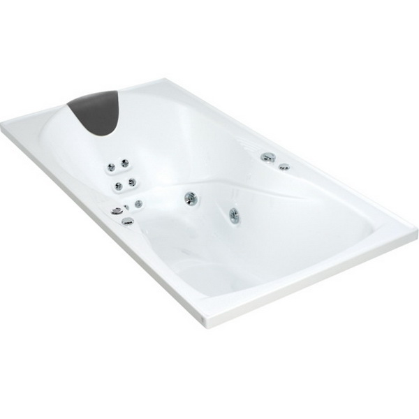 Evora Hydrotherapy Massage Rectangular Spa Bath 1800 x 900mm White Ab Pump