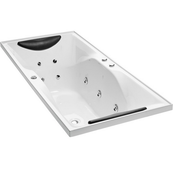 Studio II Rectangular Drop-In Symmetrical Spa Bathtub 1800 x 760 x 560mm Duracryl Acrylic White