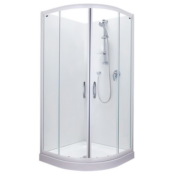 Calmo 900 x 900mm Round Sliding Flat Wall Shower White