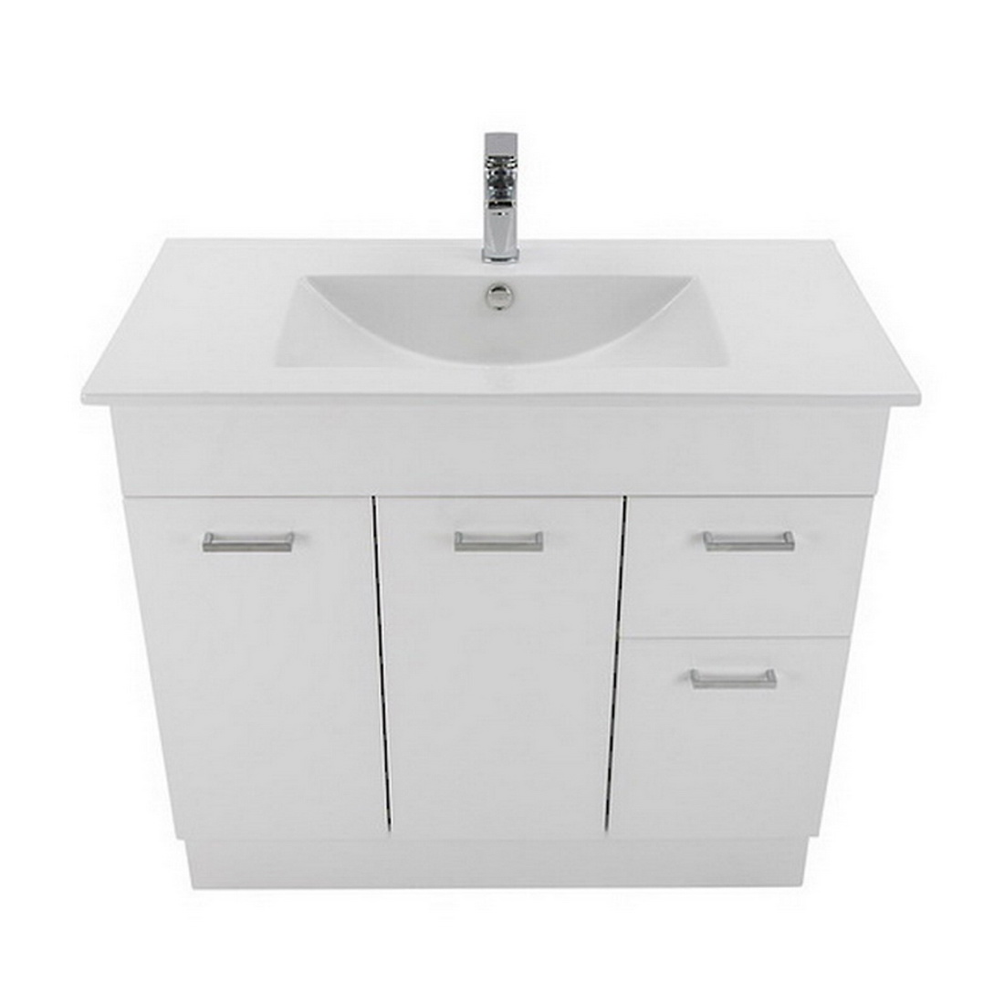 Montana Qube 2 Drawer Floorstanding Vanity 900mm Gloss White