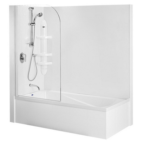 Duo Shower Over Bath Combo Cubicle Shower 1670 x 750 x 1420mm Screen White Hinge