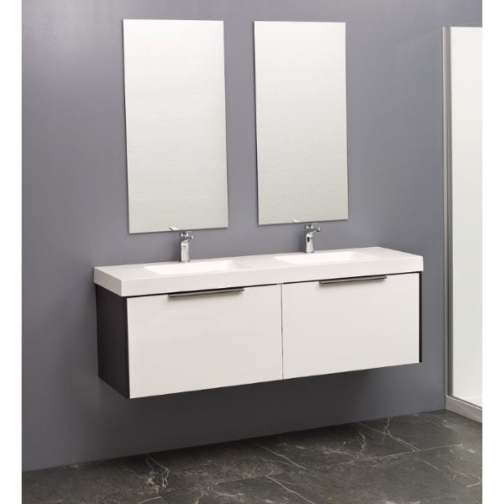 Nikau 1500mm Single Drawer Wall Hung Vanity in Ultra Gloss and Charred Oak