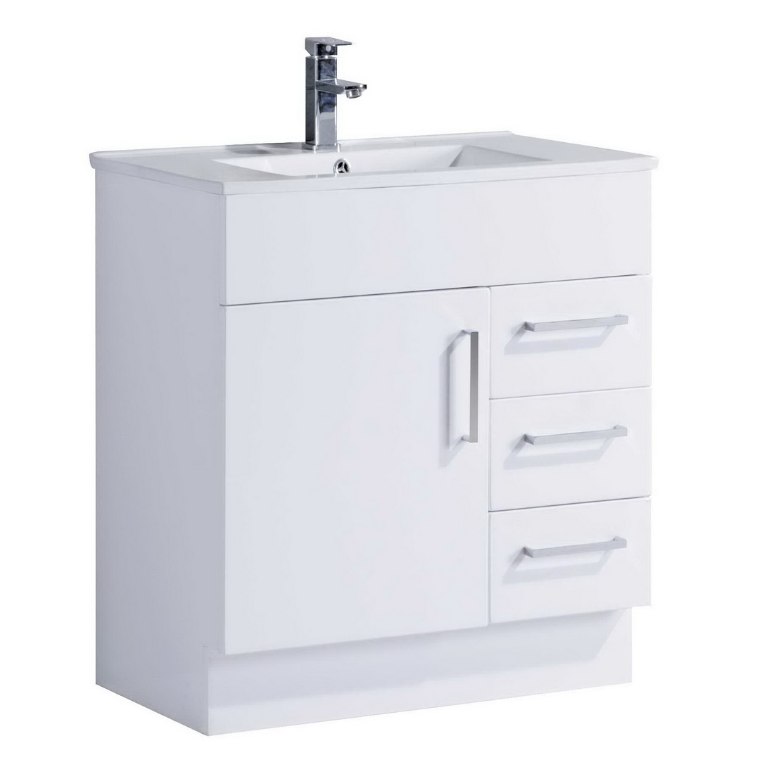 Projex 750 Floor Standing Vanity White Gloss 3 Drawer 1 Door