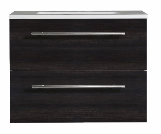Brighton Vanity 900 Wall Hung Vanity Black Woodgrain 900mm 2 Drawer