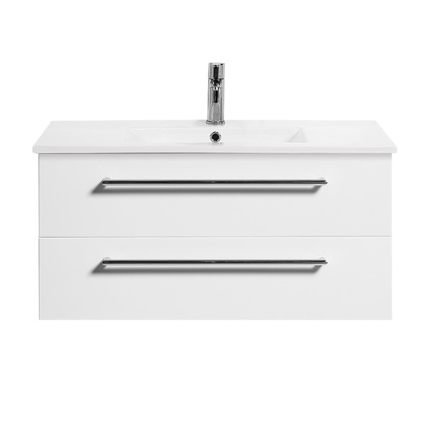 Boston 900mm 2 Drawer Wall Hung Vanity White