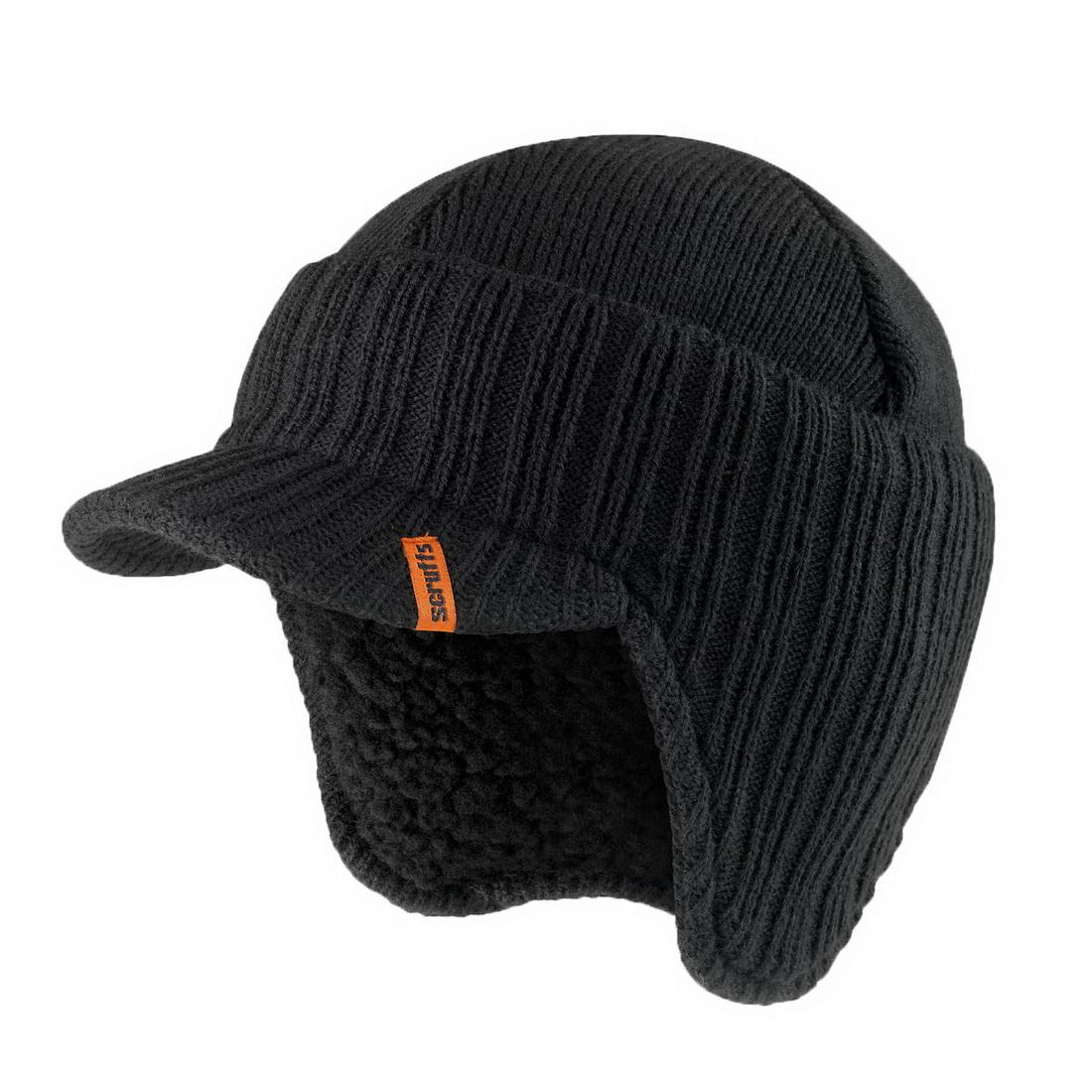 Warm Styled Wool Peaked Beanie Hat One Size Black T50986
