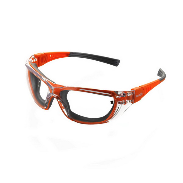 Falcon Safety Glass Orange Frame Clear Lens