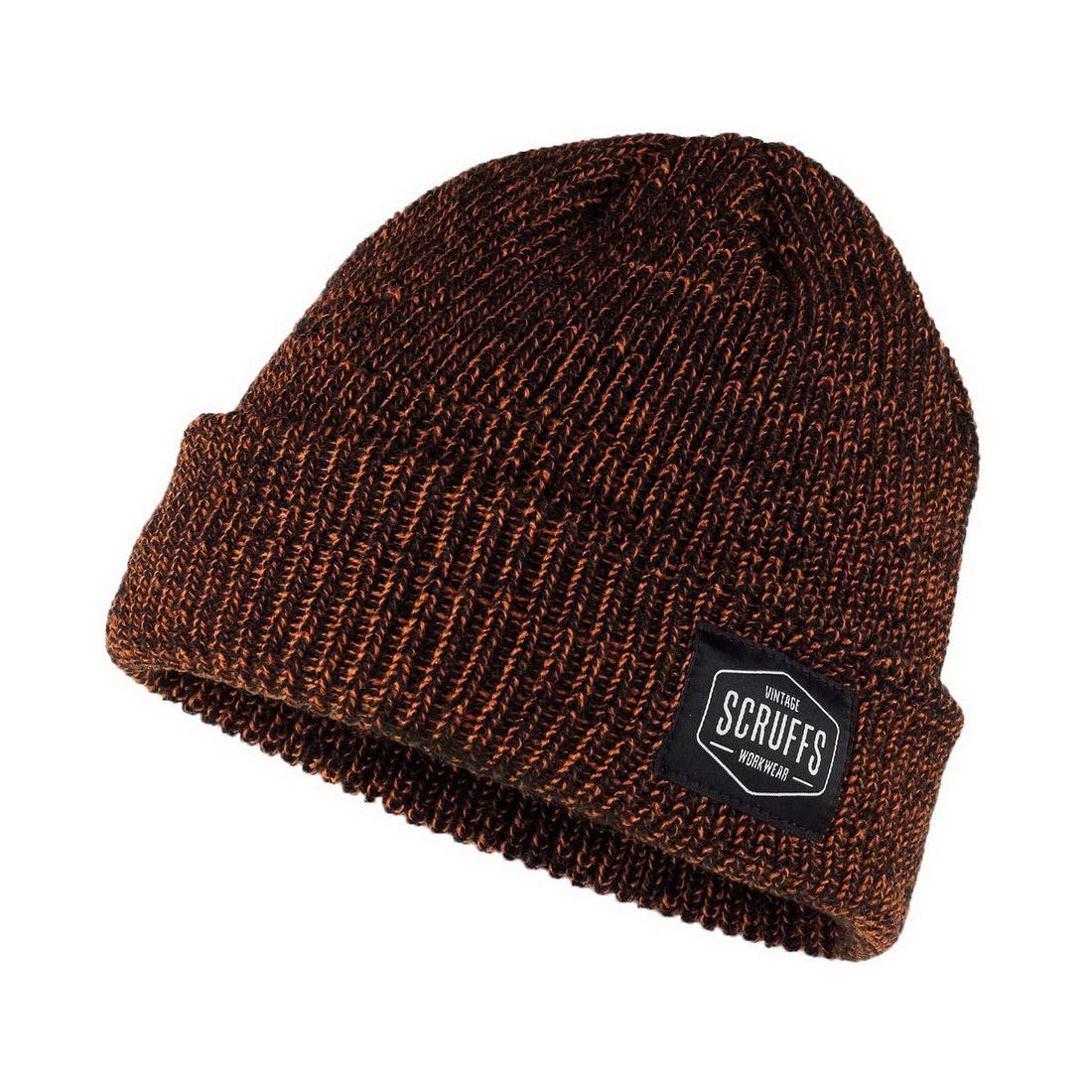Vintage Microfleece Thermal Beanie Hat One Size Orange/Black T53061