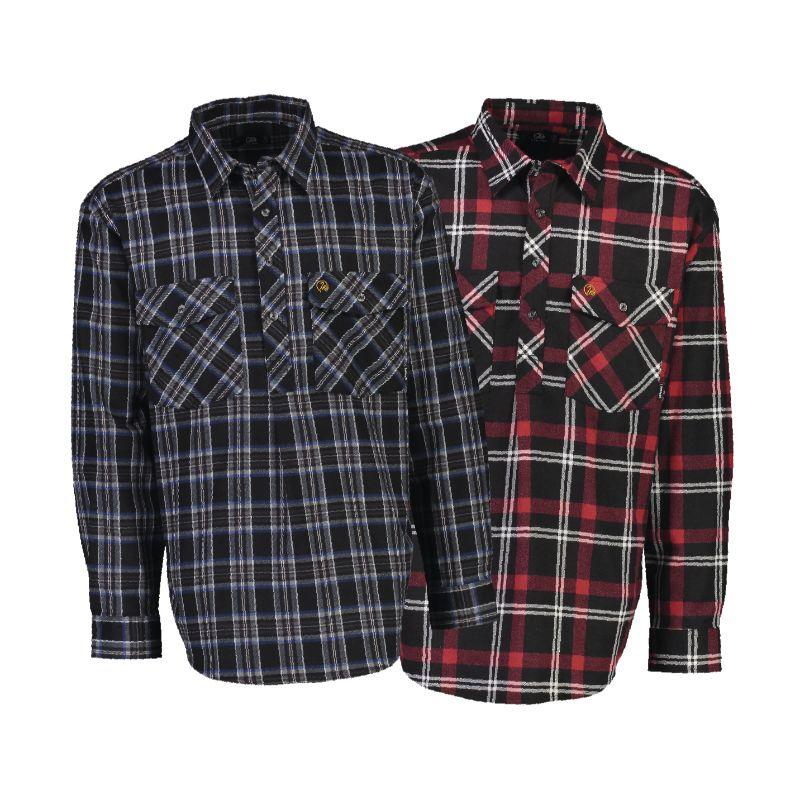 Swanndri Egmont Long Sleeve Shirt Twin Pack Grey/Red M