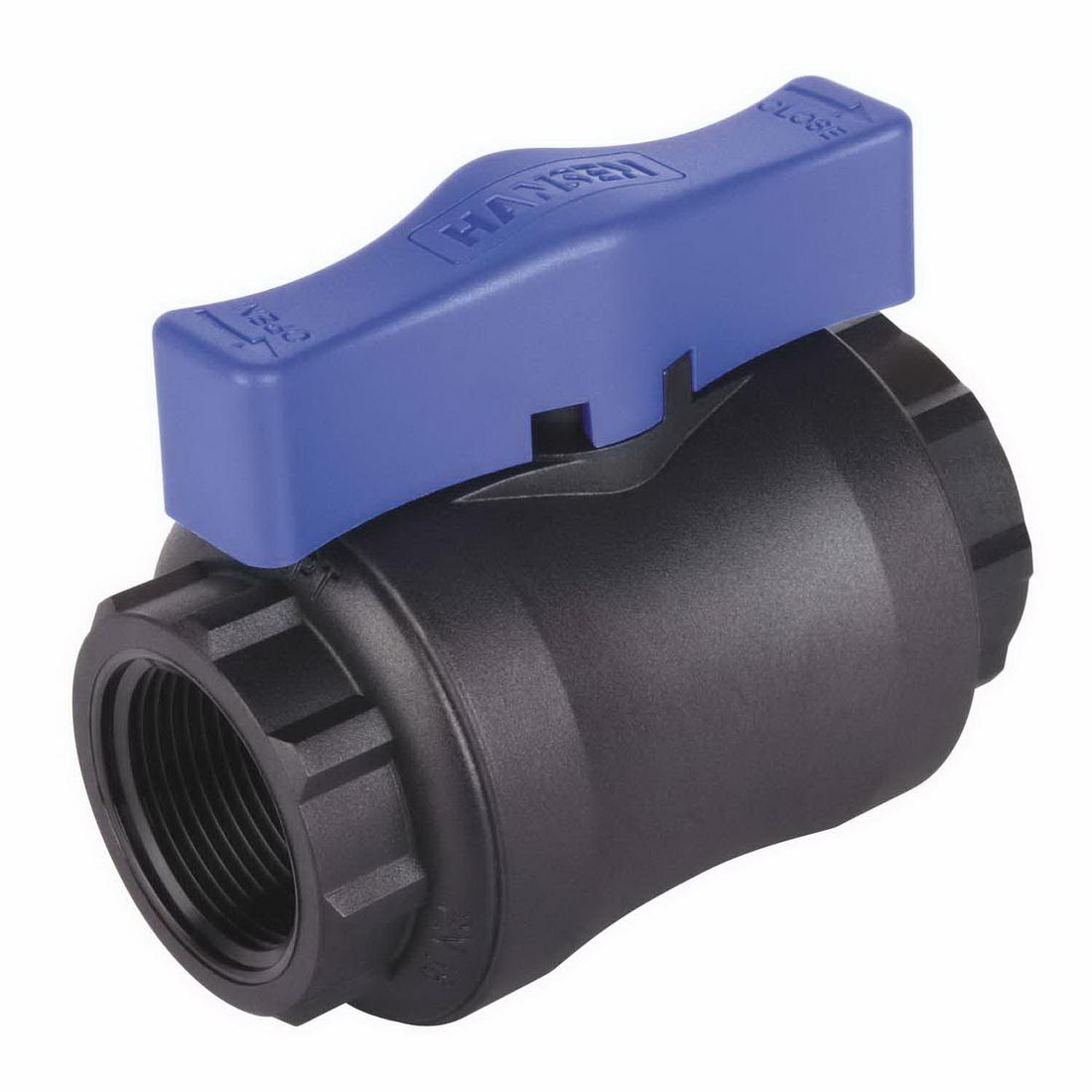 HBV Series Full Flow Compact Ball Valve 40mm F BSPT Glass Fibre Reinforced Nylon Black/Blue