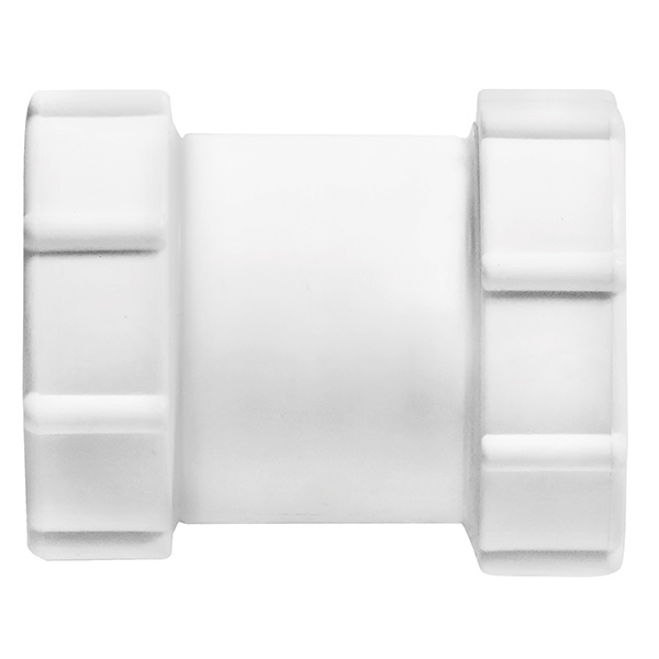 Compression Coupling 40 x 40mm Compression x Compression Polypropylene White C40WH