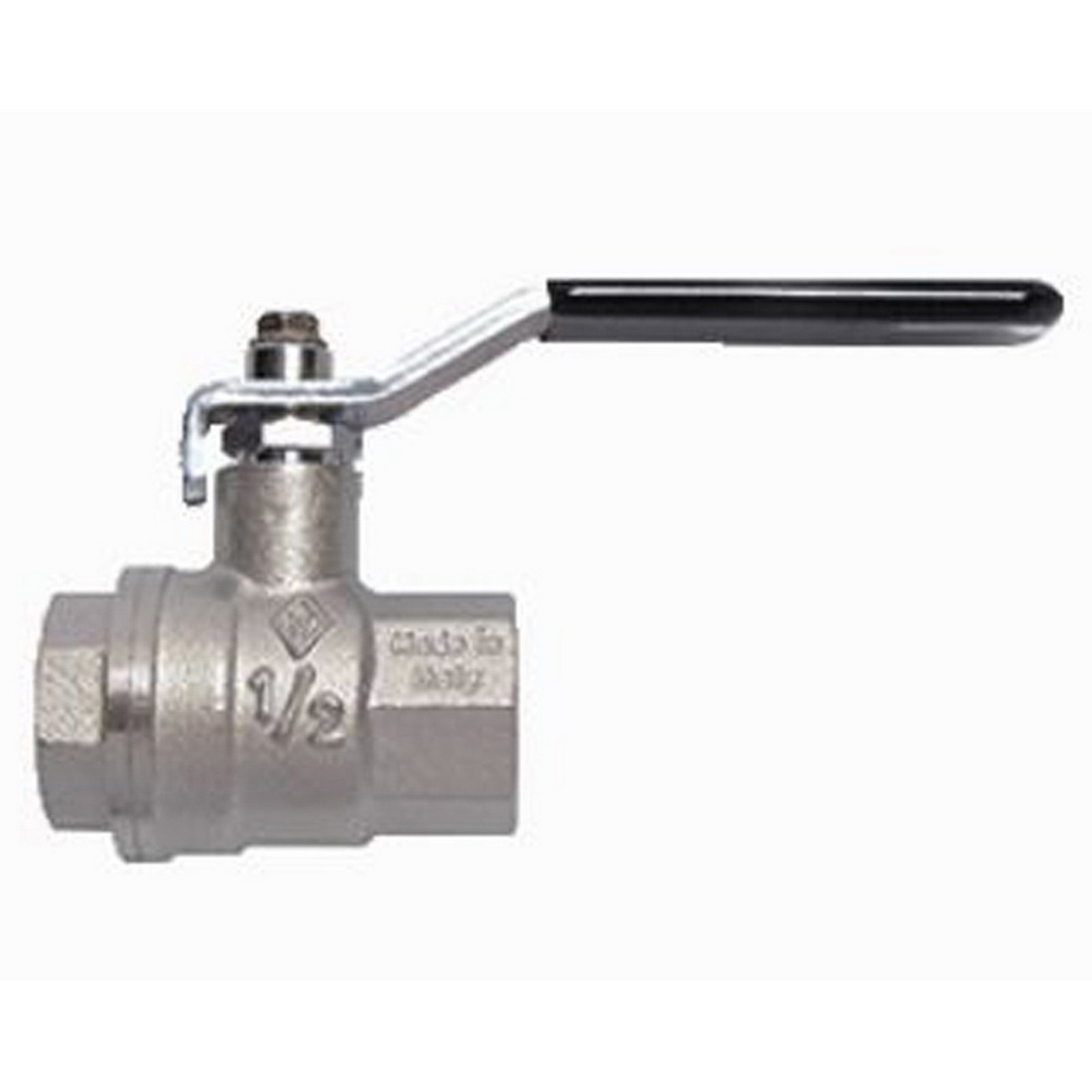 O8 Series Full Flow Ball Valve 20mm Female x Female Water 580psi Long Handle Brass Nickel
