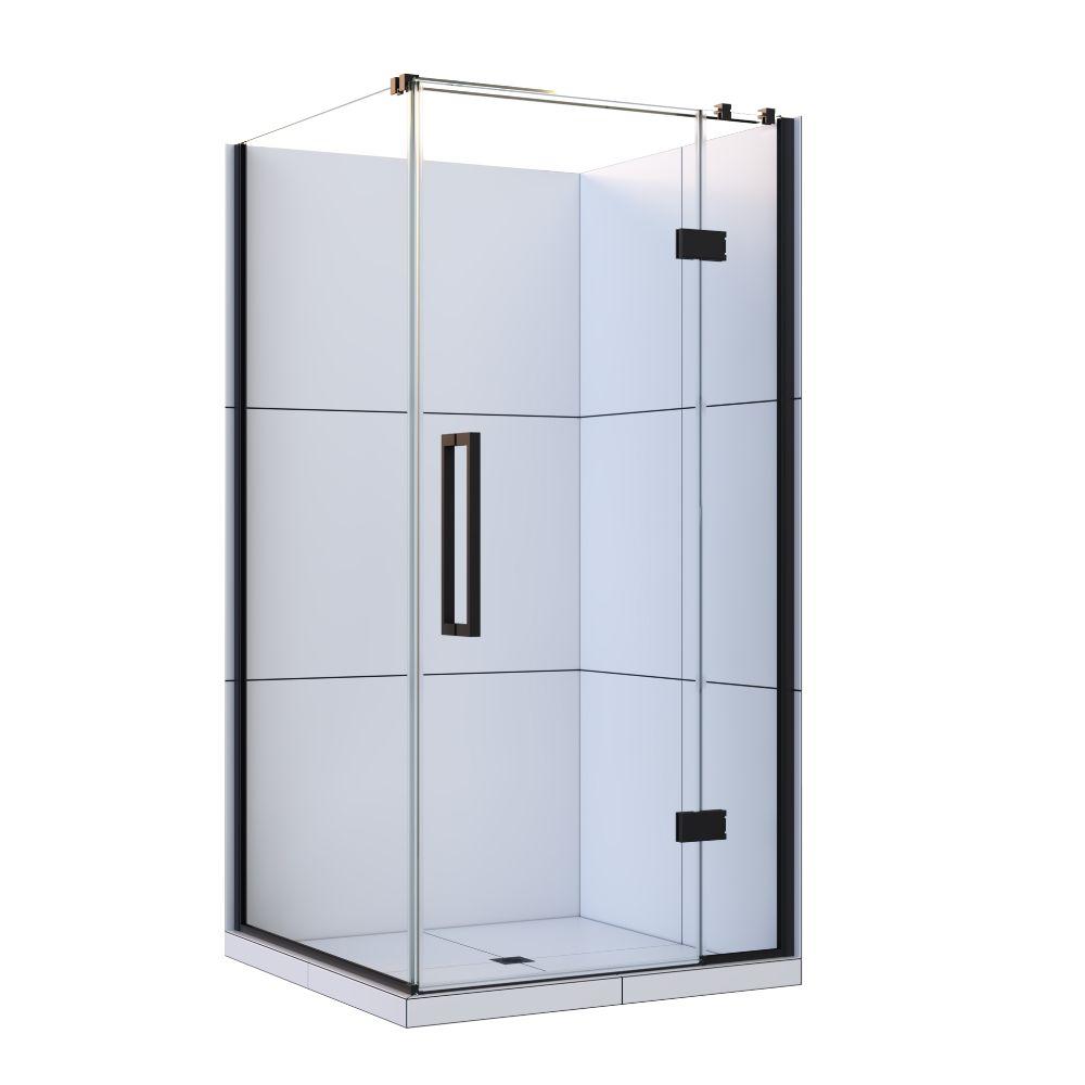 Maritsa Shower 1000x1000mm Corner Door Black Chrome Center Waste 2 Sided Tile Wall