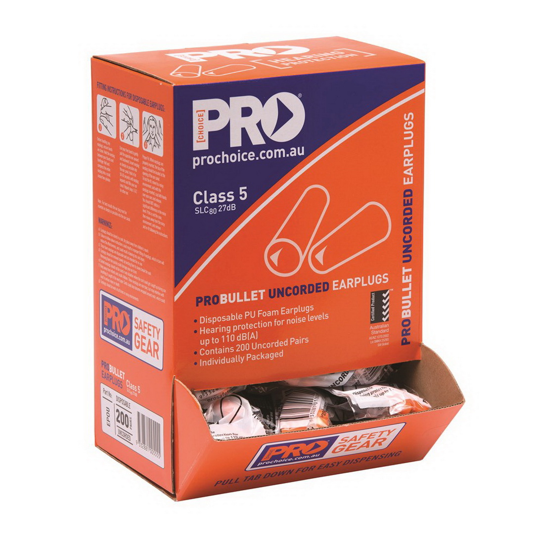 ProBullet Class 5 27dB Tapered Disposable Earplug Uncorded 200 Pairs Box