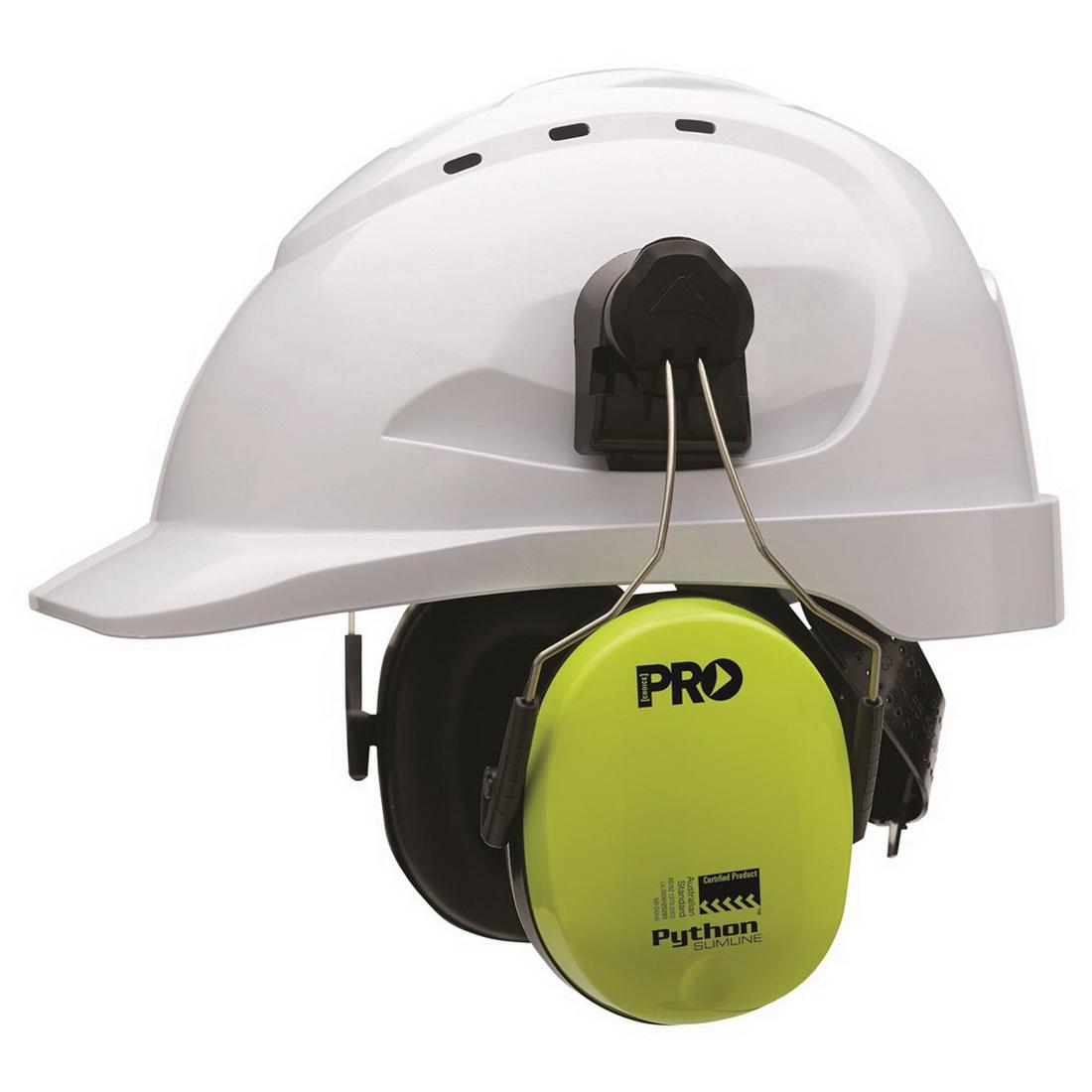 Python Slimline Series Hard Hat Earmuff Hi Vis Yellow HHEMPYTS