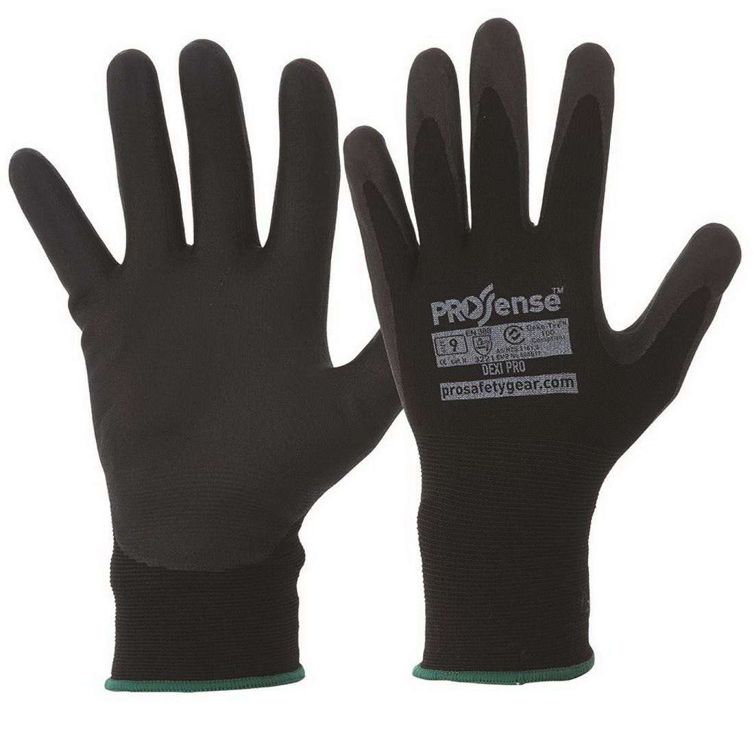 Prosense Synthetic Dipped Range Dexi-Pro Gloves Black