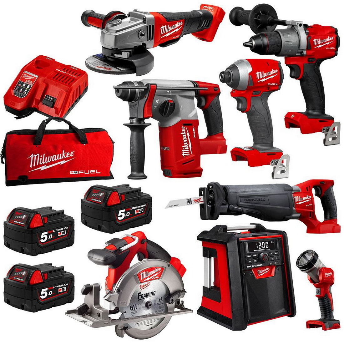 M18 FUEL Cordless Combo Kit 5.0Ah 8 Piece