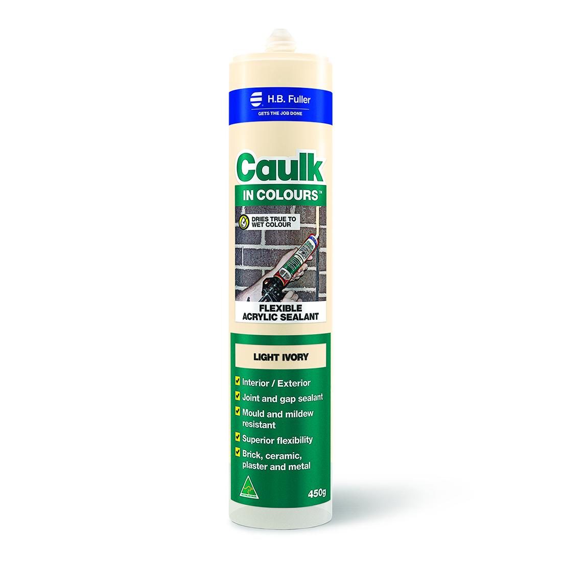 Caulk In Colours 450g Flexible Acrylic Sealant Light Ivory