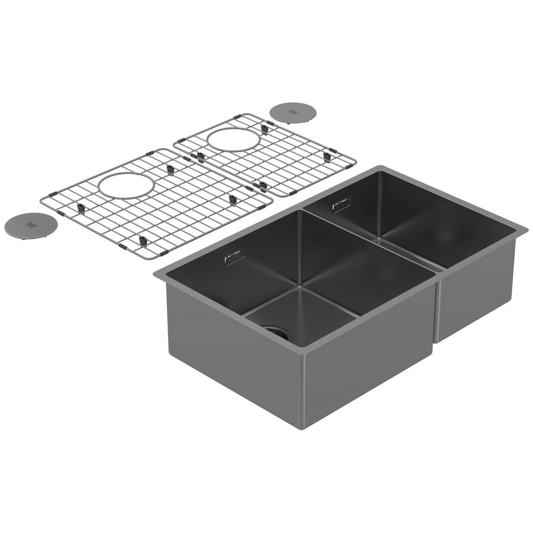 704x440x200mm Double Bowl Undermount Kitchen Sink Cayman Sonic Grey PearlArc Finish