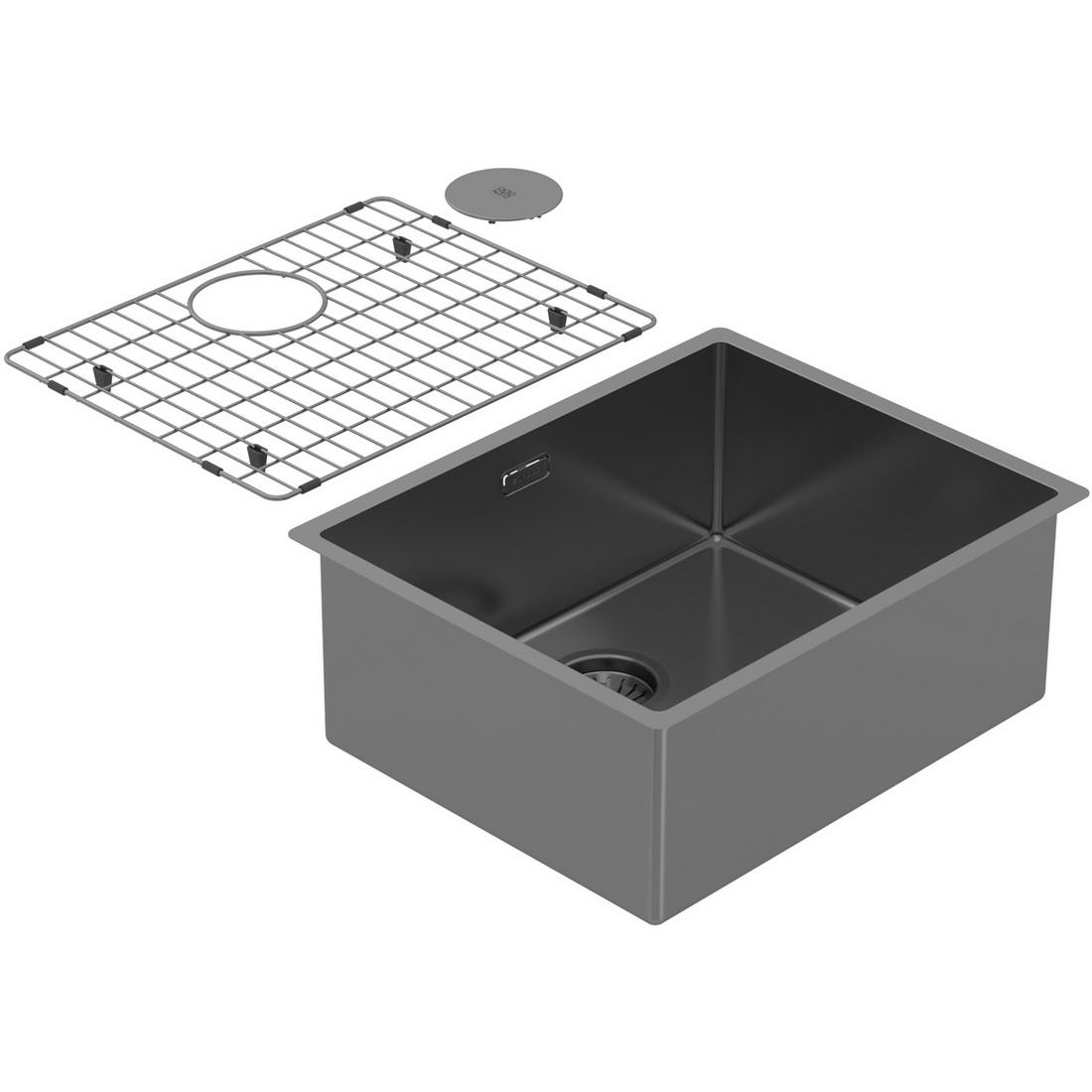 540x440x210mm Single Large Bowl Undermount Kitchen Sink Cayman Sonic Grey PearlArc Finish
