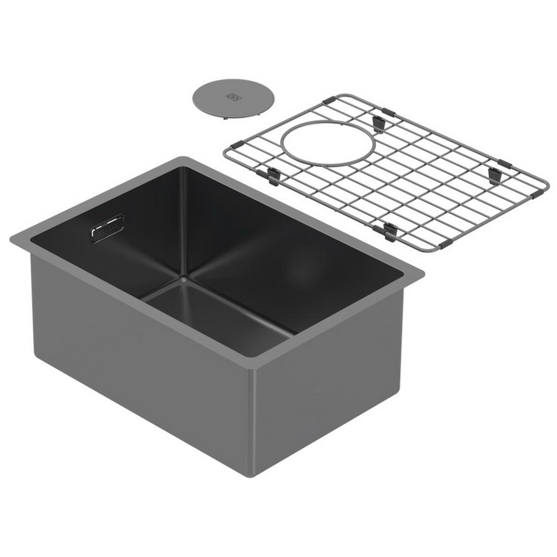 320x440x180mm Single Bowl Undermount Kitchen Sink Cayman Black PearlArc Finish