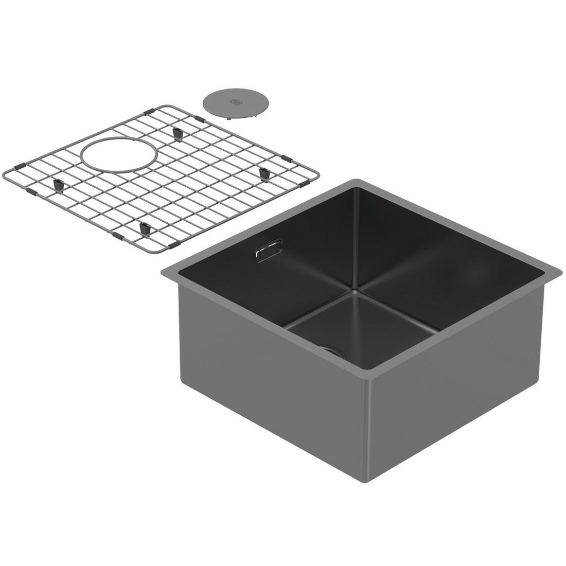 440x440x200mm Single Medium Bowl Undermount Kitchen Sink Cayman Black PearlArc Finish