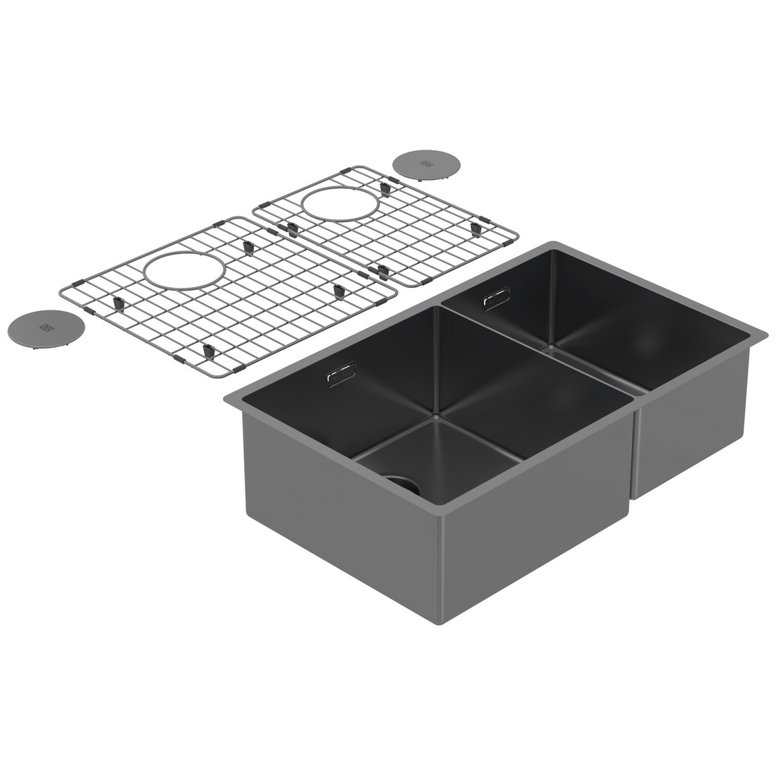 704 x 440 x 200mm Double Bowl Undermount Kitchen Sink Cayman Black PearlArc Finish
