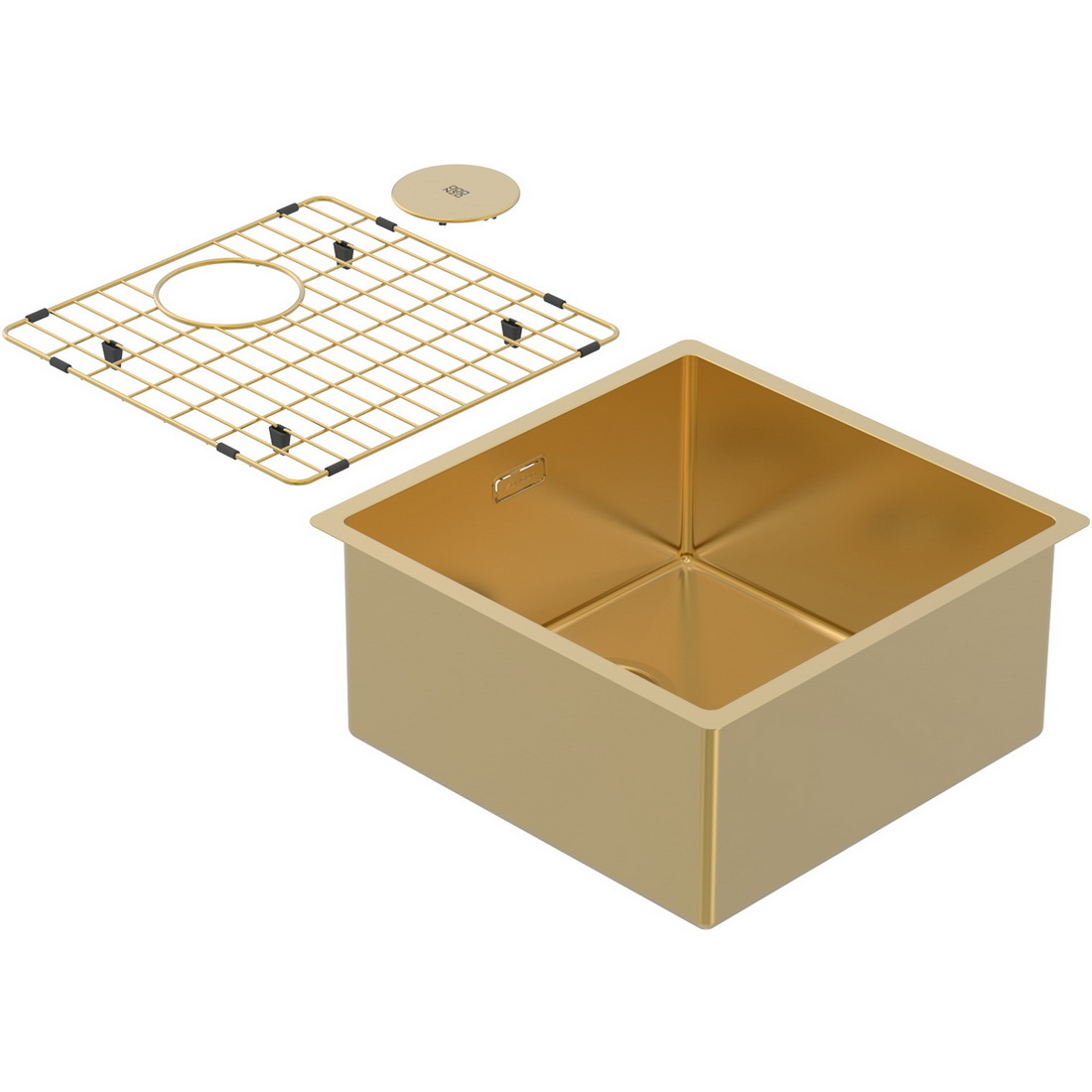440x440x200mm Single Medium Bowl Undermount Kitchen Sink Cayman Eureka Gold PearlArc Finish