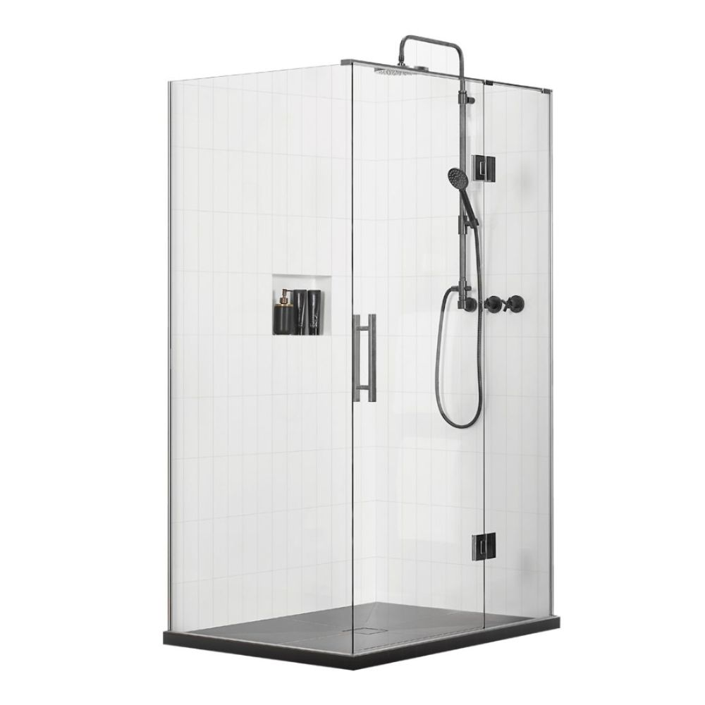 Artisan Frameless Shower 1200 x 900mm 2 Sided Wall Base & Screen