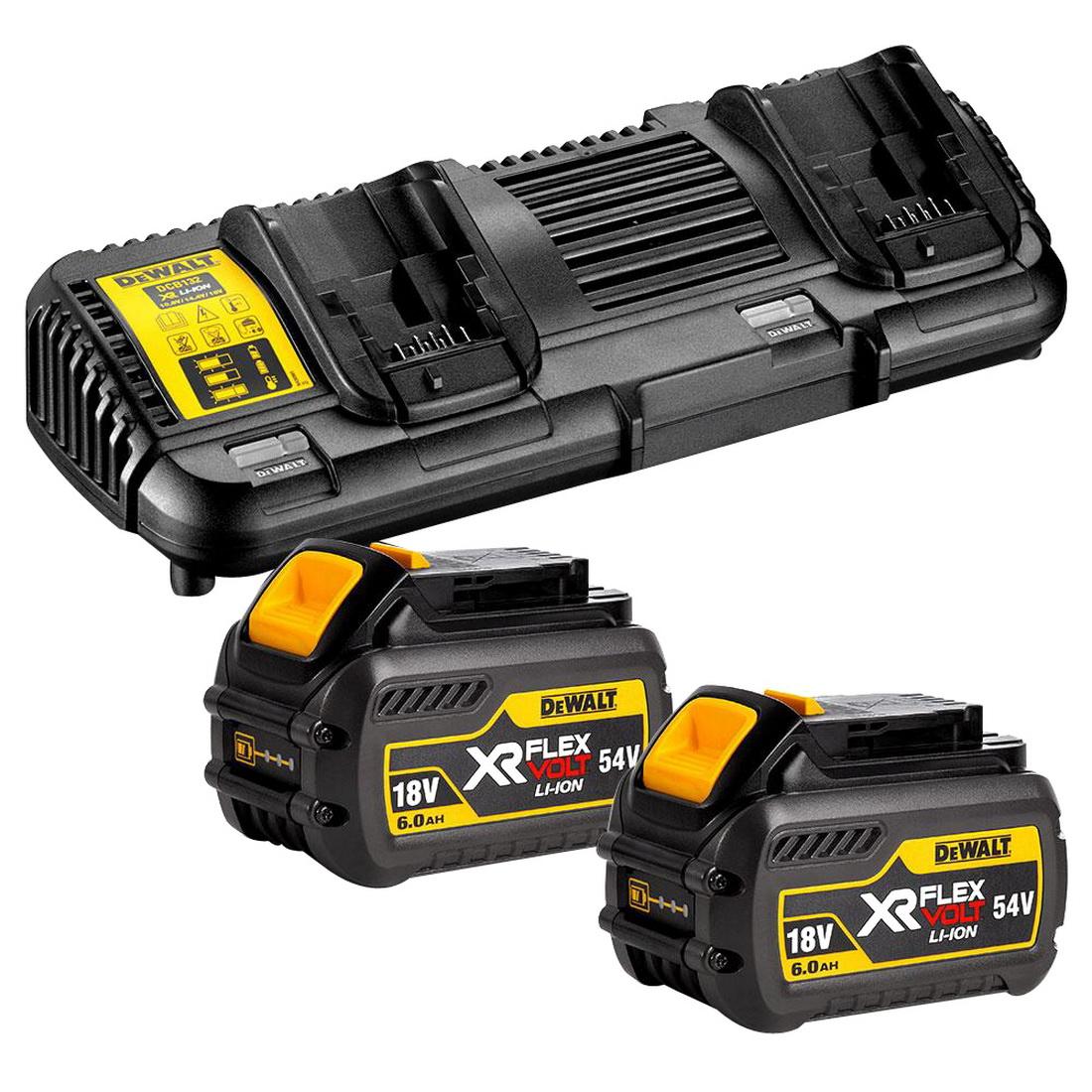 FLEXVOLT 18/54V 6Ah XR Battery & Charger Starter Pack (2 x DCB546-XE, 1 x DCB132-XE Kit)