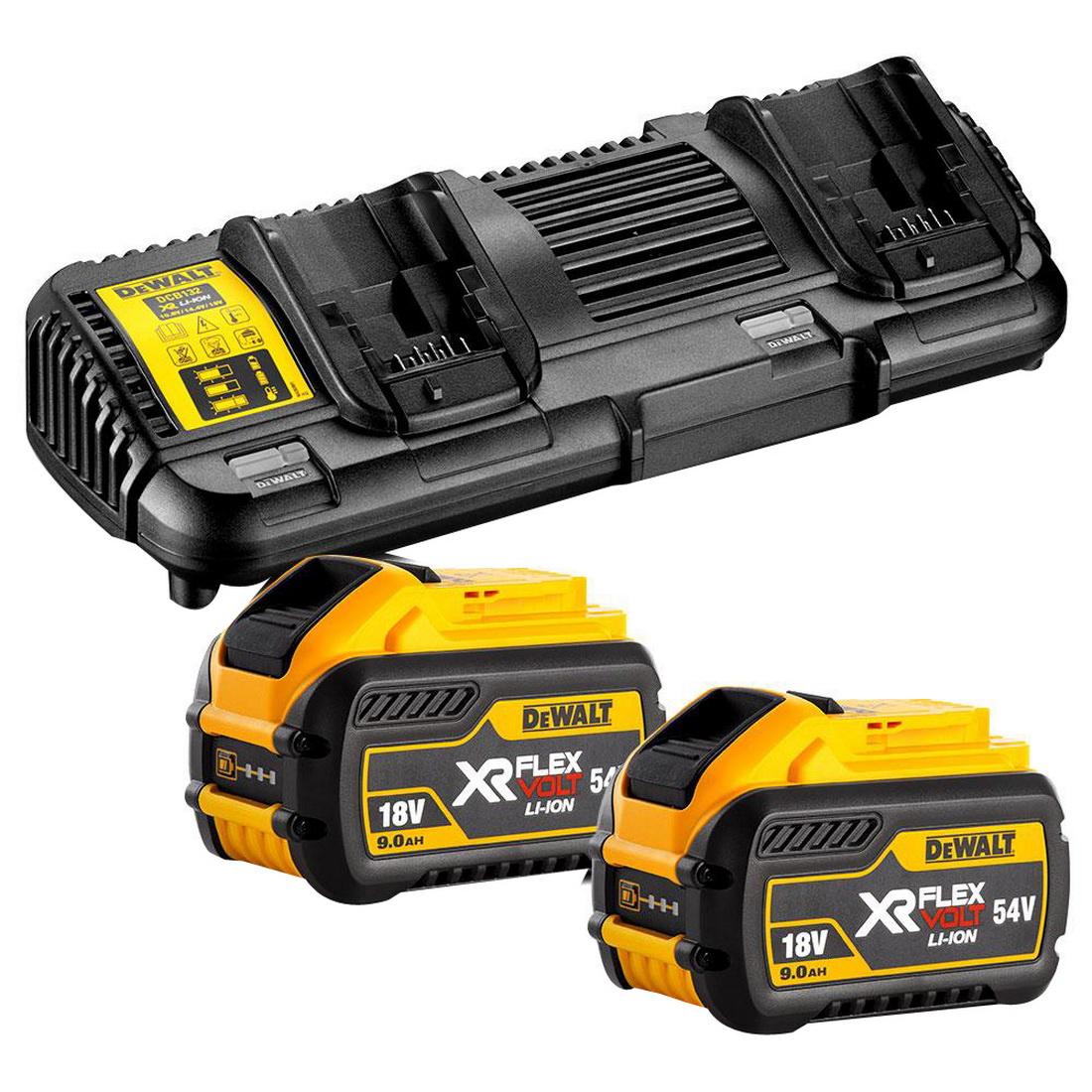 FLEXVOLT 18/54V 9Ah XR Battery & Charger Starter Pack (2 x DCB547-XE, 1 x DCB132-XE Kit)