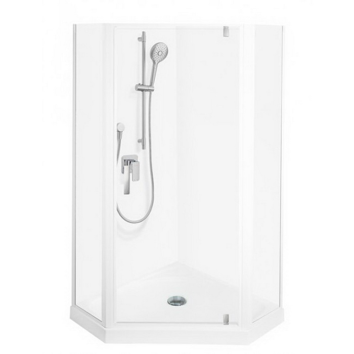 Valencia Elite Shower 1000 x 1000mm White Centre Corner Contour