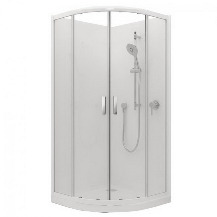 Valencia Elite Round Shower 1000 x 1000mm Black Centre 2 Side Corner Contour