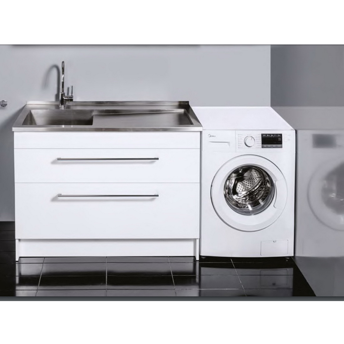 1200x920x600mm Horoi Laundry Cabinet with Tub Stainless Steel Top Timber White