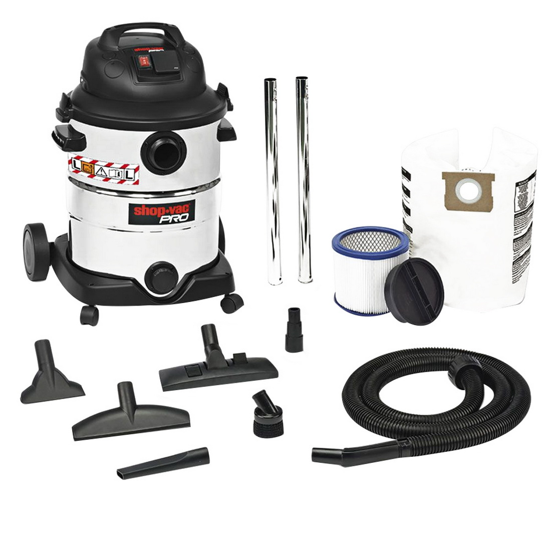 Pro 1400W 40L Stainless Steel L Class Wet/Dry Synchro Vacuum With Power Tool Plug & Hepa Filter