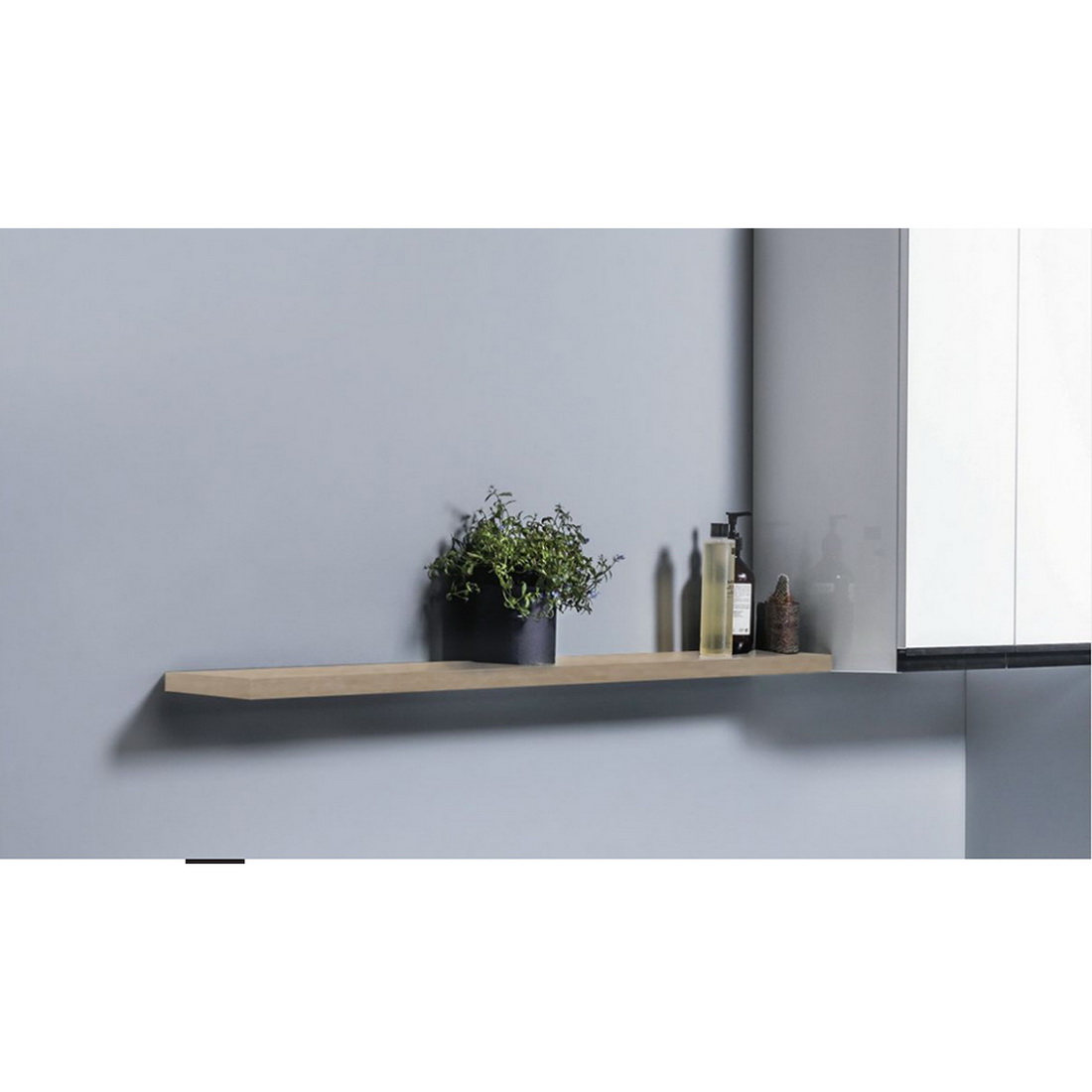 600 x 150 x 25mm Wall Hung Floating Laundry Shelf Timber Veneer