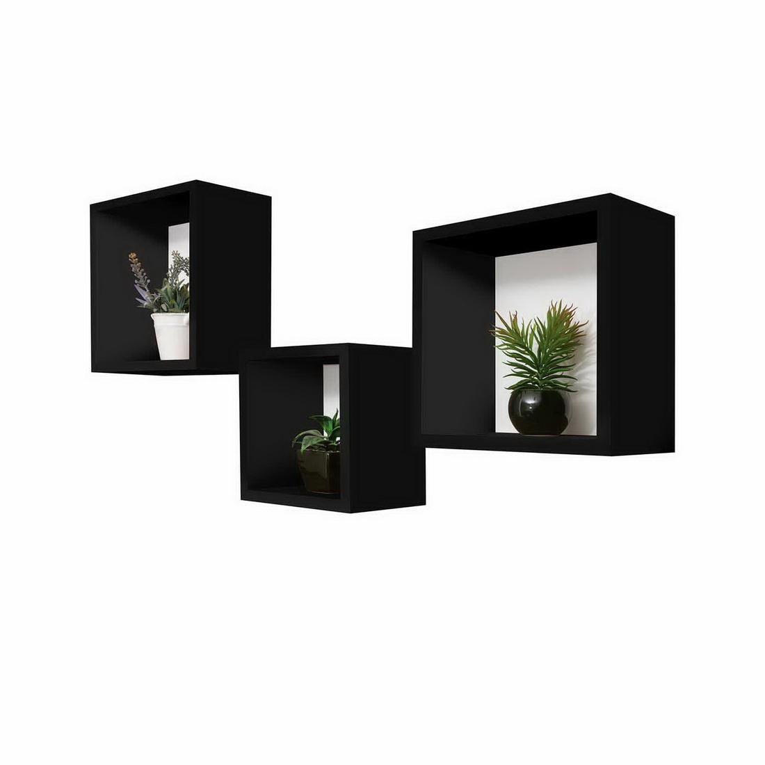 3 in 1 Cubeline Set Floating Shelves Black