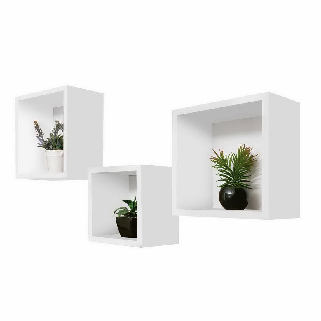 3 in 1 Cubeline Set Floating Shelves White