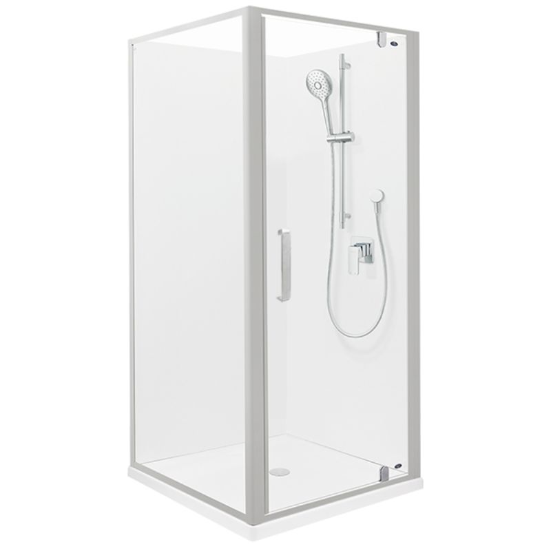 Ruby II Square Corner Shower 1000 x 1000mm Satin Frame with Flat Wall