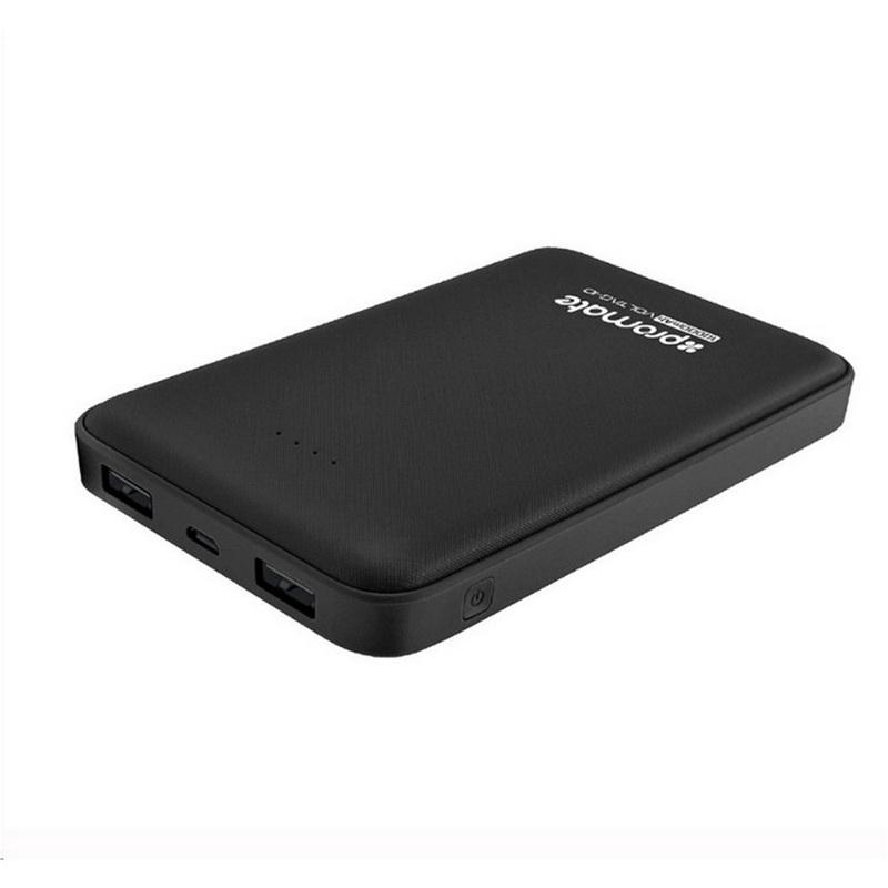 10000mAh Ultra-Slim Lithium Polymer Charging Power Bank with Dual USB Ports Black
