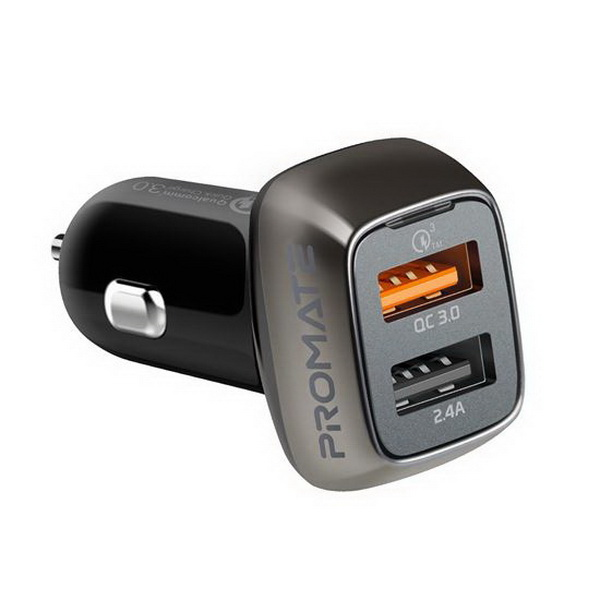 Qualcomm 3.0 Quick Charge 30W Car Charger with Dual USB Port Black