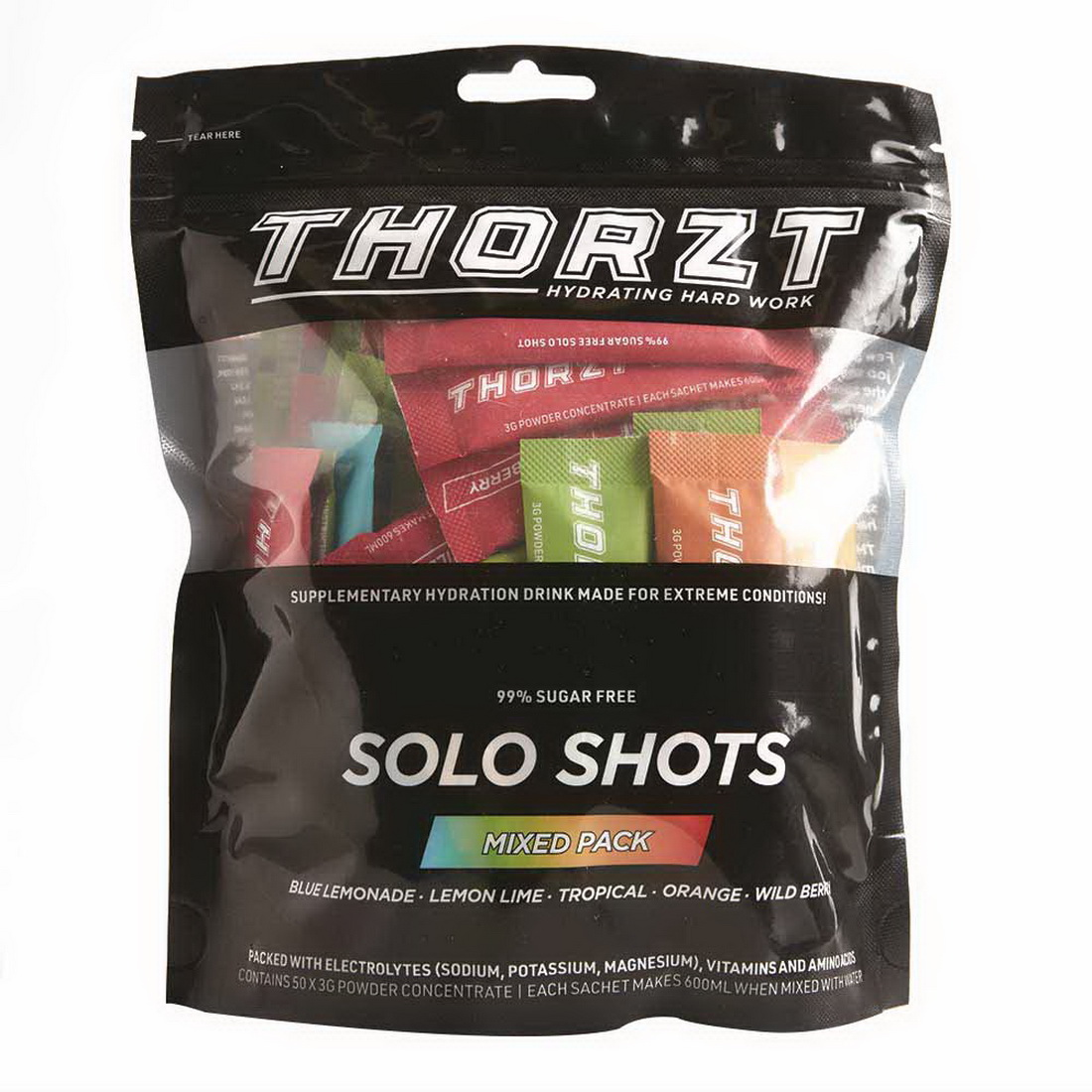 3G/600Ml Sugar Free Solo Shot Mixed Flavours 50 Pack 10 Of Each Flavour