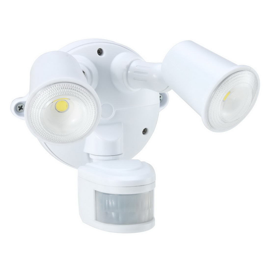 2x10W 100-240V 2000lm 5000K Twin LED Spotlight with Motion Sensor White IP54