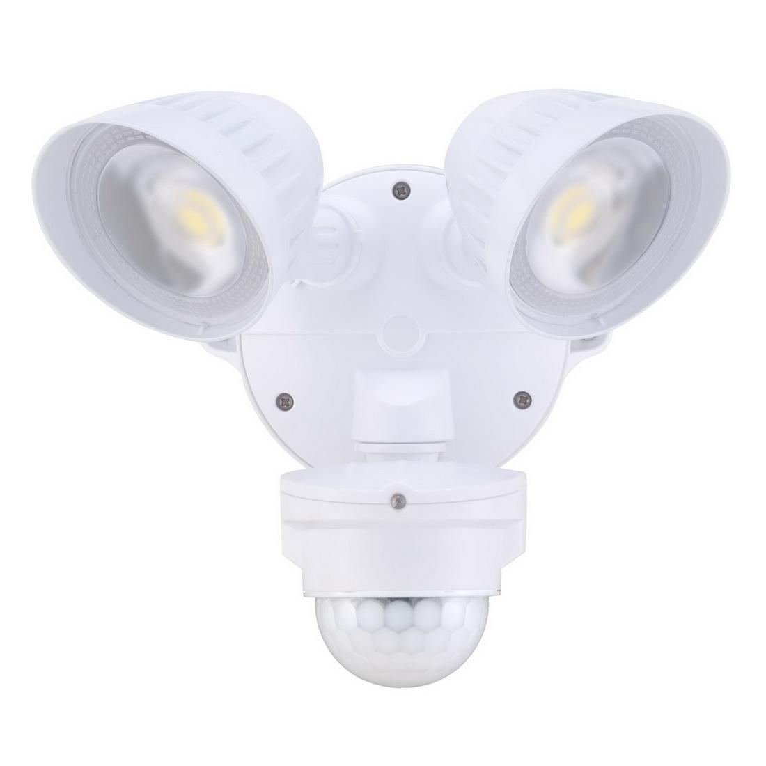 2x20W 100-240V 4000lm 5000K Twin LED Spotlight with Motion Sensor White IP54