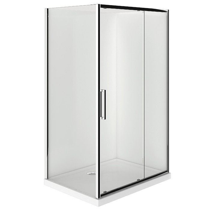 Verona Sliding Square Shower 900x1200mm Right Hand Door Center Waste 2 Sided Flat Wall