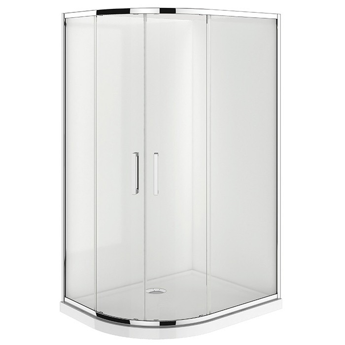 Verona Round Shower 900x1200mm Right Hand Door Center Waste Flat Wall
