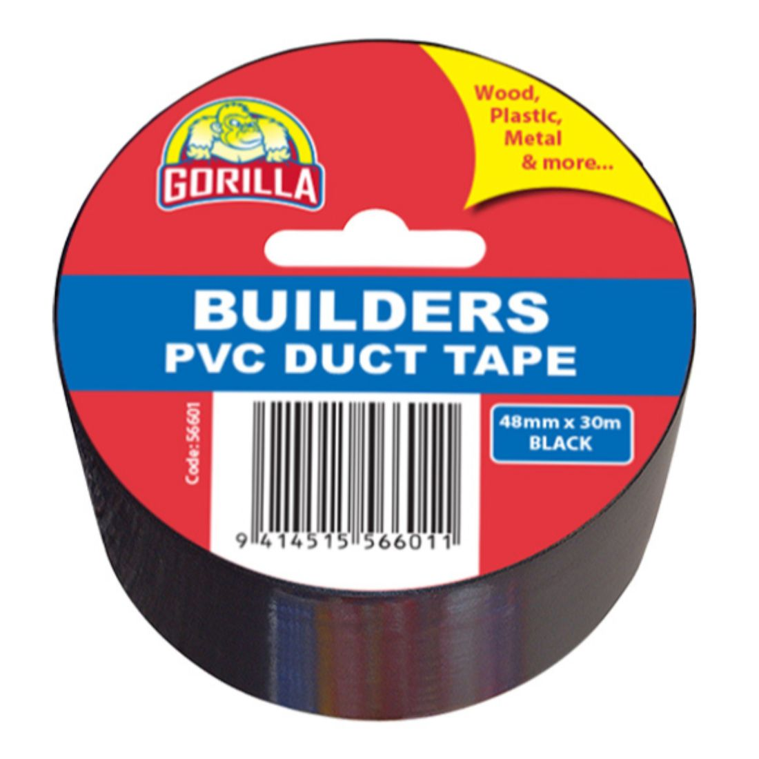 Builders 48mm x 30m PVC Tape Black