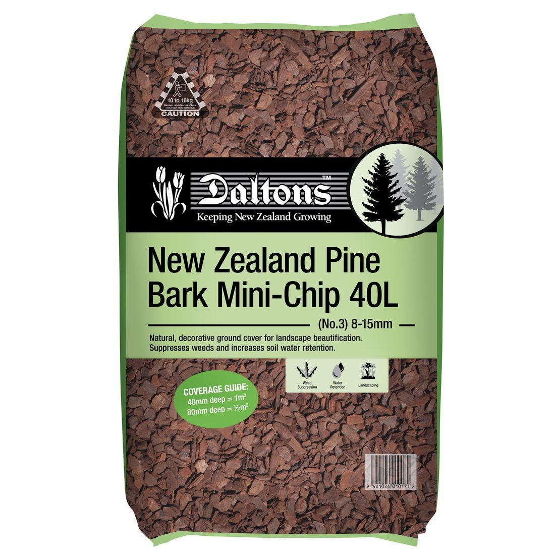 NZ Pine Bark Mini Chip 40L Bag