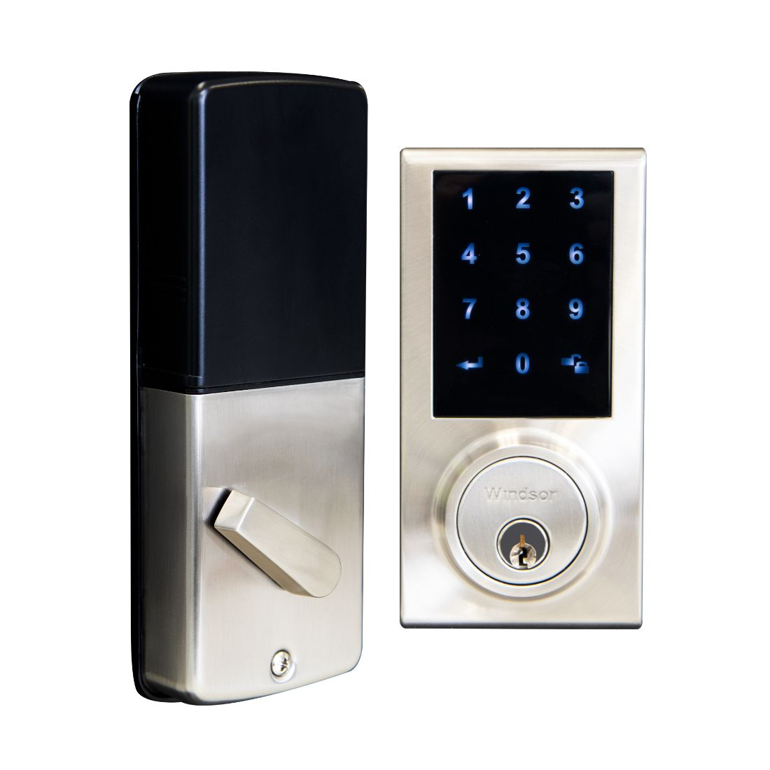 Bluetooth Electronic D Bolt LockSquare Brushed Nickel